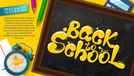 Ink flowing in lettering form Back to school. Topographic Banner with pencils, clock, clothespins and calculator. Lettering for banners, posters, flyers. Creative sketch design advertising. Vector Çizim