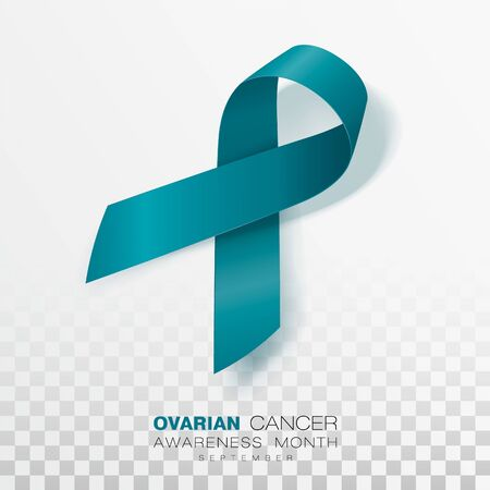 Ovarian Cancer Awareness Month. Teal Color Ribbon Isolated On Transparent Background. Vector Design Template For Poster. Illustration. Ilustrace
