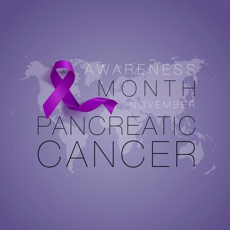 Pancreatic Cancer Awareness Calligraphy Poster Design. Realistic Purple Ribbon. November is Cancer Awareness Month. Vector Illustration Illustration