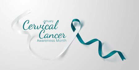 Cervical Cancer Awareness Calligraphy Poster Design. Realistic Teal and White Ribbon. January is Cancer Awareness Month. Vector. Illustration Vector Illustration