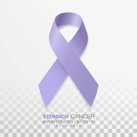 Stomach Cancer Awareness Month. Periwinkle Color Ribbon Isolated On Transparent Background. Vector Design Template For Poster. Illustration. 矢量图像