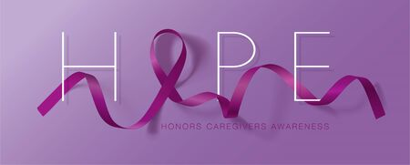 Honors Caregivers. National Family Caregivers Month. Calligraphy Poster Design. A Plum Ribbon brings awareness to Cancer Caregivers. November is Caregiver Awareness Month. Vector