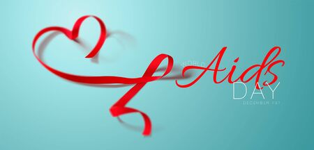 World Aids Day concept. Aids Awareness. Realistic Red Ribbon. Calligraphy Poster Design. Vector illustration