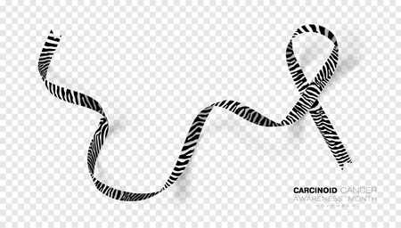 Carcinoid Cancer Awareness Month. Zebra Stripe Color Ribbon Isolated On Transparent Background. Vector Design Template For Poster.