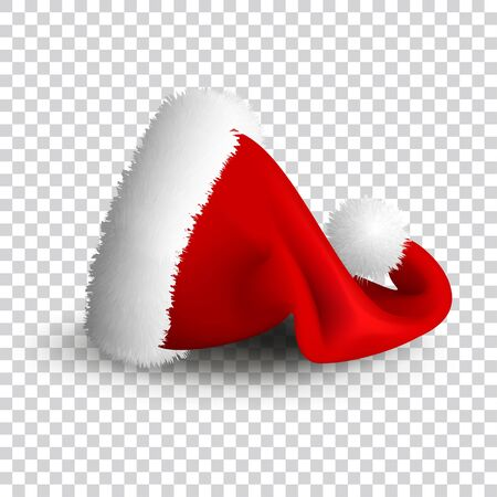 Santa Claus hat isolated on transparent background. Realistic Vector. 3d Illustration. Illustration
