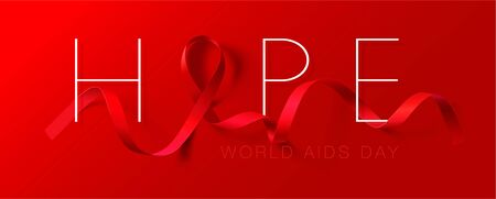 World Aids Day concept. Hope. Aids Awareness. Realistic Red Ribbon. Calligraphy Poster Design. Vector illustration Ilustrace