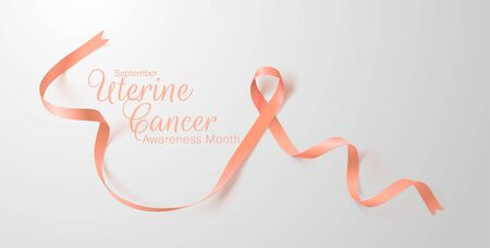 Uterine Cancer Awareness Calligraphy Poster Design. Realistic Peach Ribbon. September is Cancer Awareness Month. Vector Illustration