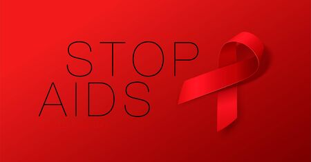 World Aids Day concept. Stop Aids. Awareness. Realistic Red Ribbon. Calligraphy Poster Design. Vector illustration