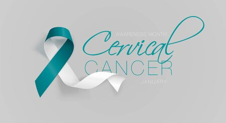 Cervical Cancer Awareness Calligraphy Poster Design. Realistic Teal and White Ribbon. January is Cancer Awareness Month. Vector. Illustration