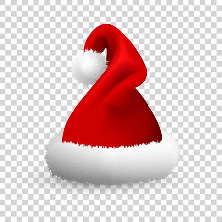 Santa Claus hat isolated on transparent background. Realistic Vector. 3d Illustration.  イラスト・ベクター素材