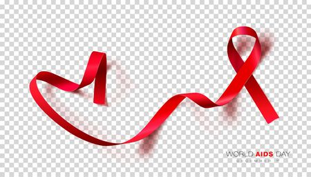 World Aids Day. Red Color Ribbon Isolated On Transparent Background. Vector Design Template For Poster.  イラスト・ベクター素材