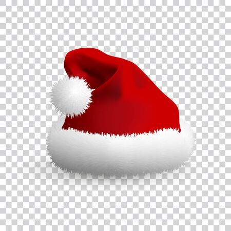 Santa Claus hat isolated on transparent background. Realistic Vector. 3d Illustration. Stock Illustratie