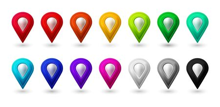 Map location pointer 3d arrow. Color navigation icon for web, banner, logo or badge. Vector Illustration.