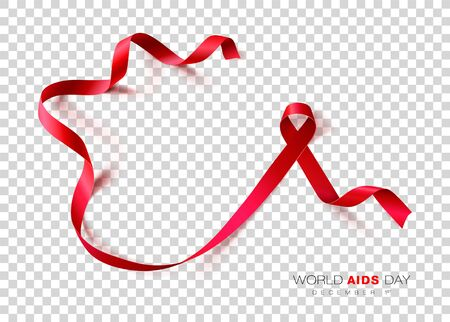 World Aids Day. Red Color Ribbon Isolated On Transparent Background. Vector Design Template For Poster. Stock Illustratie
