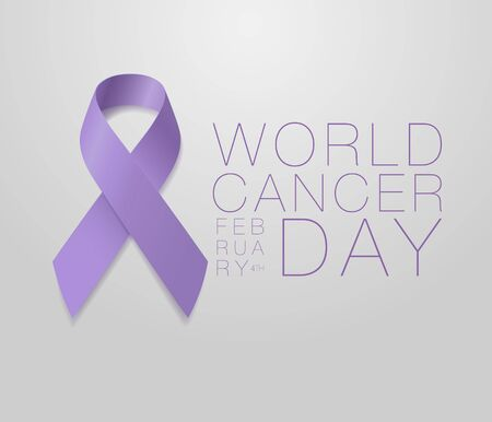 World Cancer Day. Calligraphy Poster Design. Realistic Lavender Ribbon. February 4 th is Cancer Awareness Day. Vector Illustration
