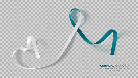 Cervical Cancer Awareness Month. Teal And White Ribbon Isolated On Transparent Background. Vector Design Template For Poster.