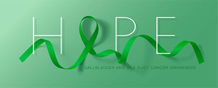 Gallbladder and Bile Duct Cancer Awareness Month. Hope. Realistic Kelly Green ribbon symbol. Vector Illustration. Medical Design.