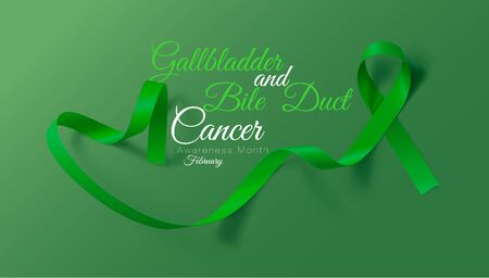 Gallbladder and Bile Duct Cancer Awareness Month. Realistic Kelly Green ribbon symbol. Vector Illustration. Medical Design. Vettoriali