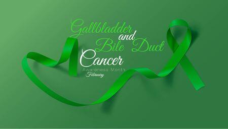 Gallbladder and Bile Duct Cancer Awareness Month. Realistic Kelly Green ribbon symbol. Vector Illustration. Medical Design. Illustration