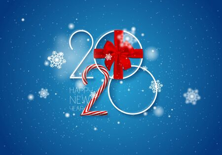 2020 Happy New Year vector background with gift bow and caramel cane, snow, white numbers. Stock Illustratie