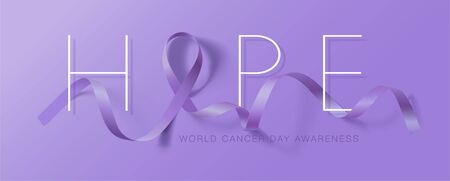 World Cancer Day. Calligraphy Poster Design. Hope. Realistic Lavender Ribbon. February 4 th is Cancer Awareness Day. Vector Illustration Stock Illustratie