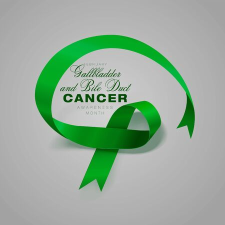 Gallbladder and Bile Duct Cancer Awareness Month. Realistic Kelly Green ribbon symbol. Vector Illustration. Medical Design. Stock Illustratie