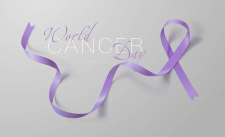 World Cancer Day. Calligraphy Poster Design. Realistic Lavender Ribbon. February 4 th is Cancer Awareness Day. Vector