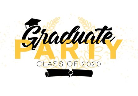 Graduation label. Lettering Class of 2020 for greeting, invitation card. Vector text for graduation design, congratulation event, party, high school or college graduate. Stock Illustratie