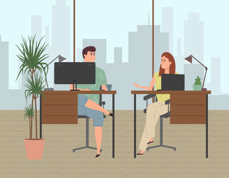 People work in a modern office in a business center on a high floor with panoramic glazing. Stock Illustratie