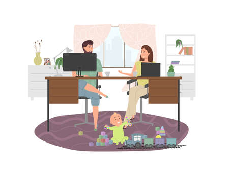 Parents work at home at a computer and laptop while a small child plays with toys and a train nearby sitting on the floor. Work life balance concept with fun cartoon characters. Stock Illustratie