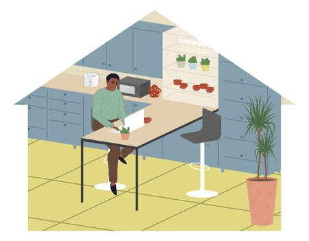 African american freelancer men work from home vector flat illustration. Modern guy relaxing at kitchen surfing internet. Flat cartoon vector illustration.