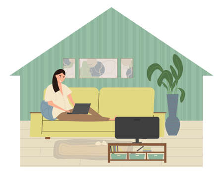 Cute young woman sitting on the couch with laptop computer in cozy room front of the TV. Funny adorable girl working at home. Daily life of freelance worker, everyday routine. Flat cartoon vector illustration. Stock Illustratie