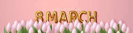 8 March. Happy Womens Day. Festive banner with flowers Ilustracja
