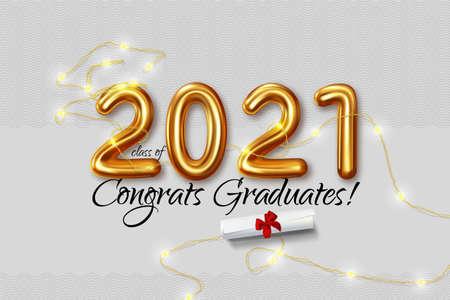 Congratulation graduates 2021 class of graduations. Vector illustration
