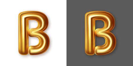 Metallic gold alphabet letter symbol - B. Vector