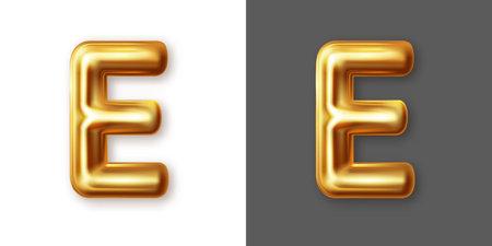 Metallic gold alphabet letter symbol - E. Vector