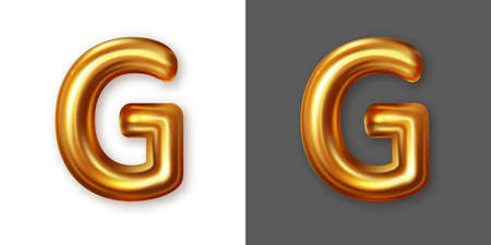 Metallic gold alphabet letter symbol - G. Vector