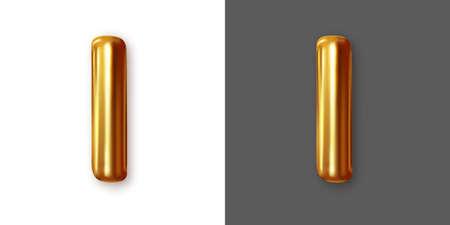Metallic gold alphabet letter symbol - I. Vector