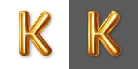 Metallic gold alphabet letter symbol - K. Vector
