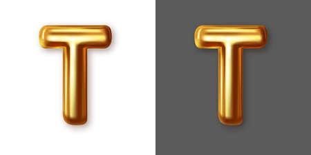 Metallic gold alphabet letter symbol - T. Vector