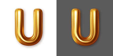 Metallic gold alphabet letter symbol - U. Vector Illustration