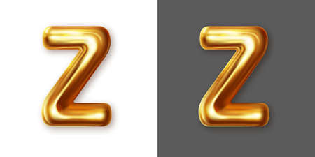 Metallic gold alphabet letter symbol - Z. Vector Illustration