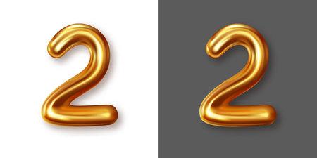 Metallic gold numeral symbol - 0. Creative vector illustration Illustration