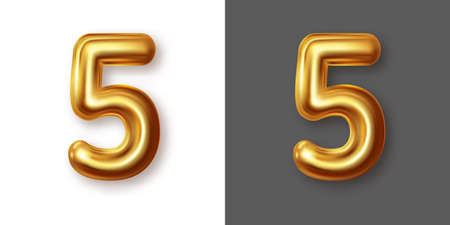 Metallic gold numeral symbol - 5. Creative vector illustration