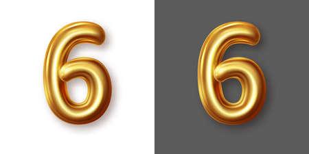 Metallic gold numeral symbol - 6. Creative vector illustration