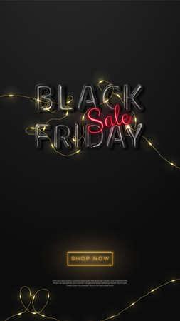 Black Friday Sale. Logo in black glossy color