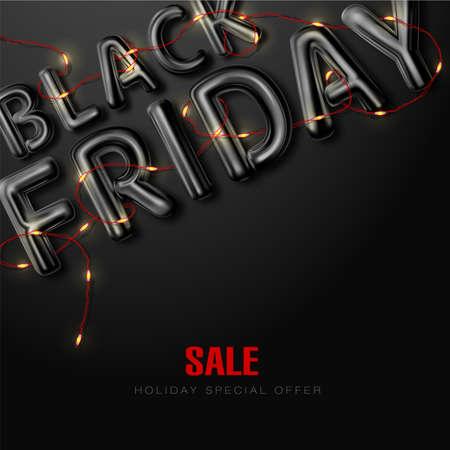 Black Friday. Sale. Banner, poster, logo black color on dark background.