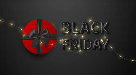 Black Friday. Sale. Premium minimalistic banner, poster, logo black color Illustration