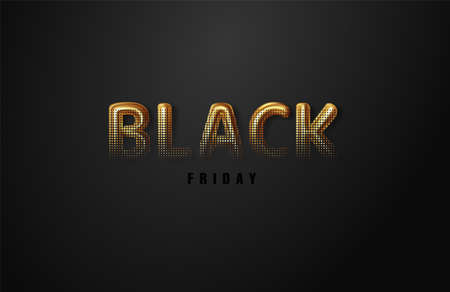 Black Friday. Sale. Illustration lettering golden color on dark background. Illustration