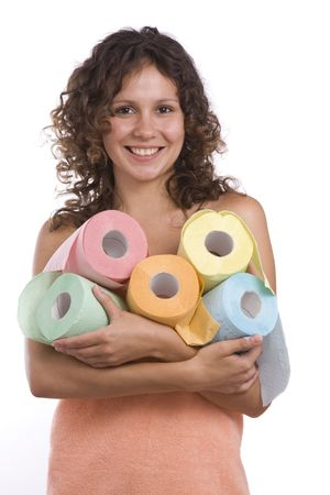 girl toilet: Woman wrapped in a peach-coloured bath towel. Sexy girl toilet paper. Smiley woman with roll of colored toilet paper. Isolated over white background.